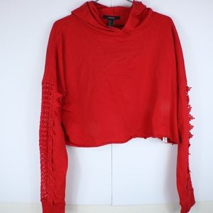 F21 Red cropped oversized hoodie w/ crochet arms-M